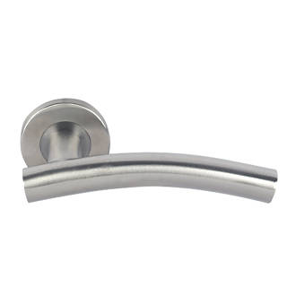 Image of Eurospec Arched Arched Lever on Rose Pair Satin Stainless Steel