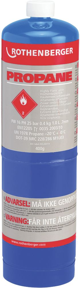 Image of Rothenberger Propane Disposable Gas Cylinder 400g Pack of 6