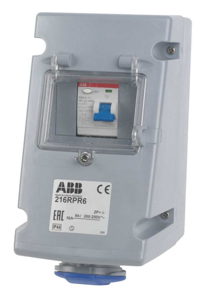 Image of ABB Socket 16A 2P+E 250V IP44 w/ 25A RCD