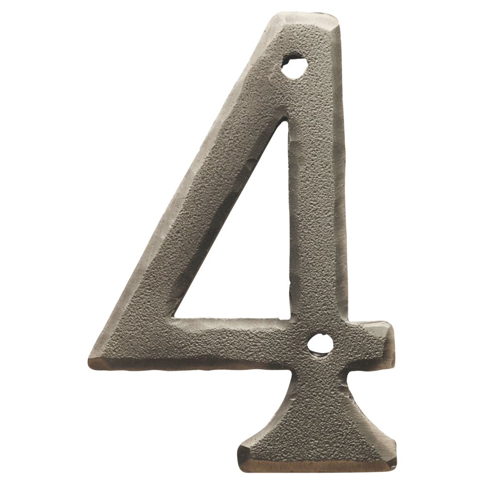 Image of Carlisle Brass Ludlow Door Numeral 4 Pewter Effect 78mm