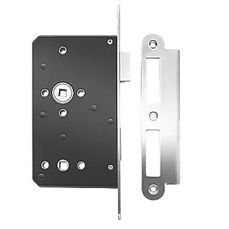 Image of Briton Stainless Steel Radius Forend Bathroom Lock 93mm Case - 60mm Backset