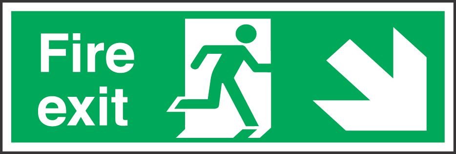 """Image of Fire Exit"""" Down Right Arrow Sign 150 x 450mm"""