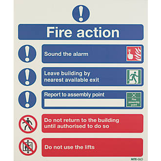 "Image of Nite-Glo ""Fire Action Notice"" Sign 350 x 250mm"