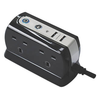 Image of Masterplug 13A 4-Gang Surge-Protected Extension Lead + 2.1A 2G USB Charger Black 1m