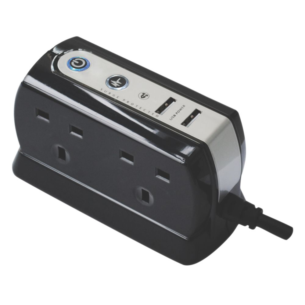 Image of Masterplug 4-Gang Surge-Protected Extension Lead + 2 x 2.1A USB Charger 1m