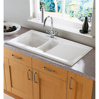 Image of Astracast Ardenne Ceramic 1.5 Bowl Square Inset Sink w/Reversible Drainer