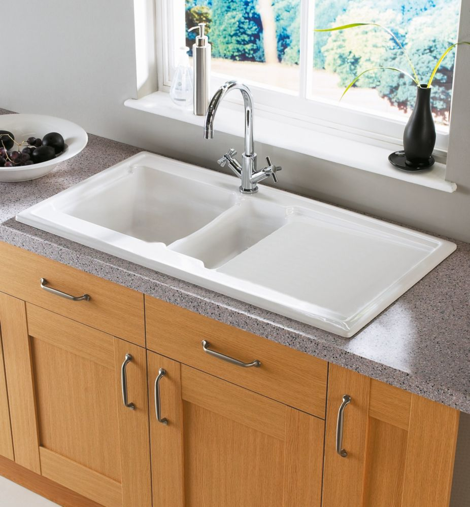 Image of Astracast Ardenne Ceramic -Bowl Square Inset Sink w/Reversible Drainer