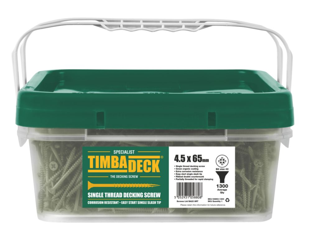 Image of Timbadeck Double-Countersunk Carbon Steel Decking Screws 4.5 x 65mm 1300 Pack