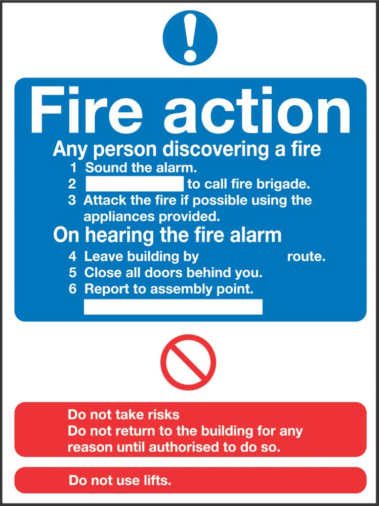 """Image of Fire Action"""" Notice Sign 230 x 172mm"""