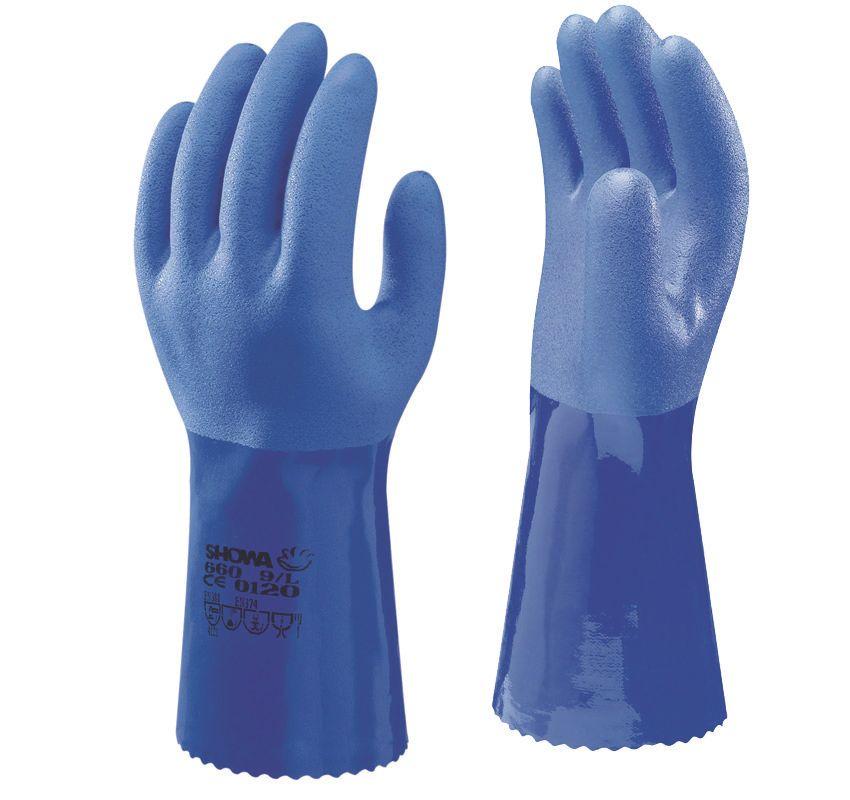 Image of Showa 660 Chemical Hazard Gauntlets Blue X Large