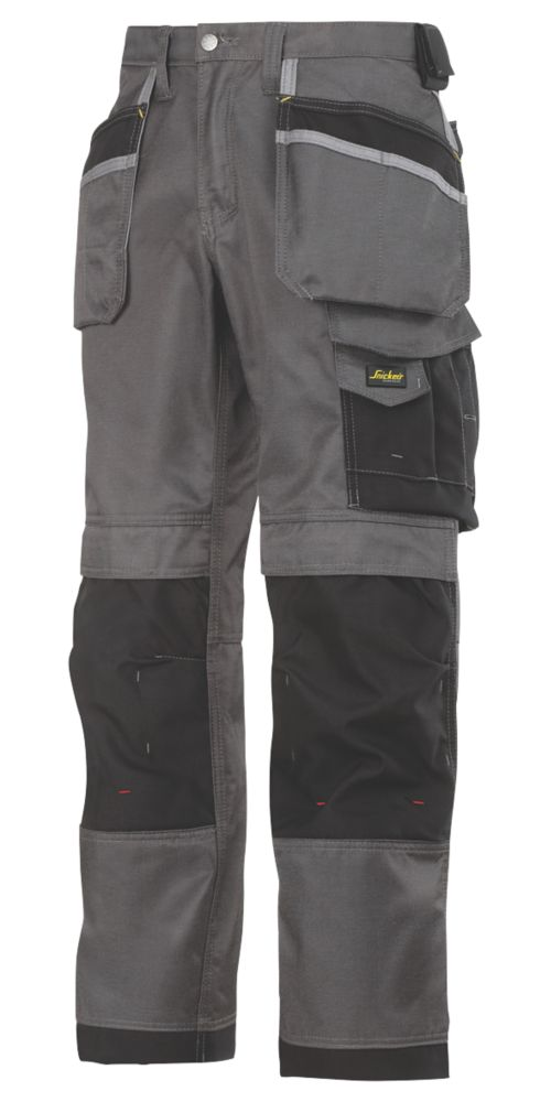 """Image of Snickers 3212 DuraTwill 3212 Holster Pocket Trousers Grey / Black 41"""" W 32"""" L"""