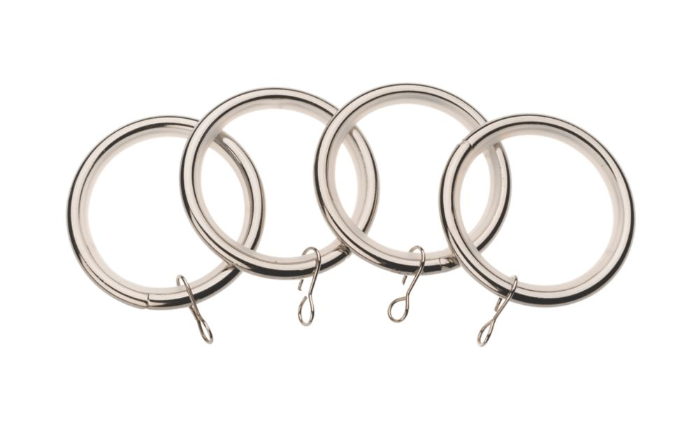 Image of Universal 35mm Metal Curtain Rings Stainless Steel 4 Pack
