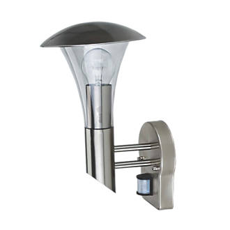 60W Stainless Steel Effect Cone Wall Light with PIR Sensor