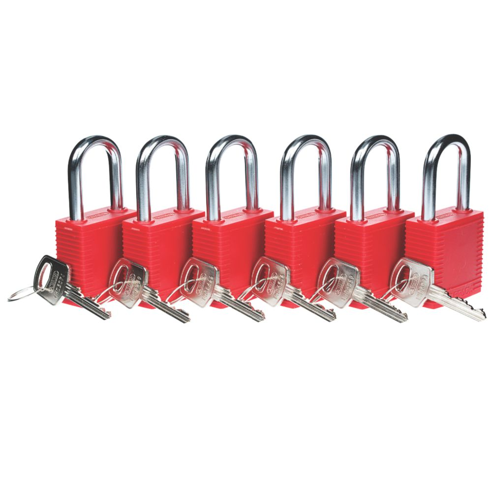 Image of Brady Lockout Safety Padlocks 6 Pack
