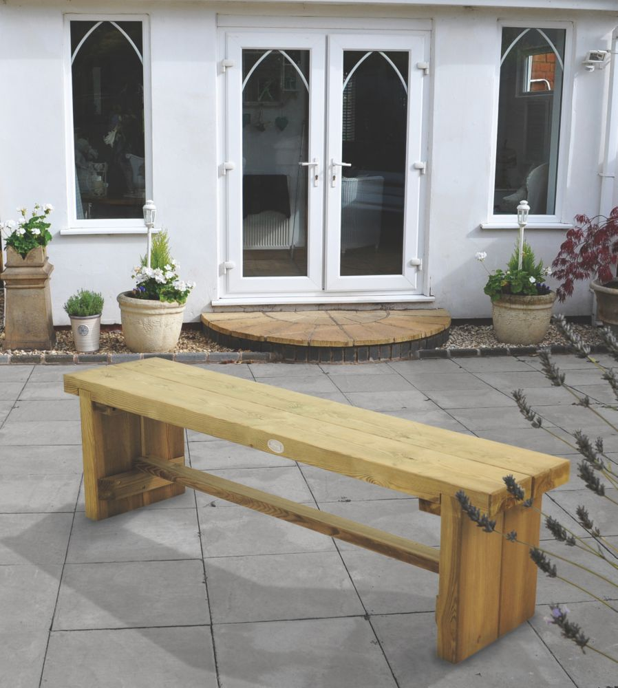 Image of Forest Double Sleeper Garden Bench Softwood 1500 x 350 x 445mm