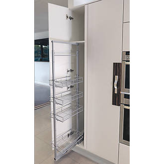 Image of Hafele 4-Shelf Pull-Out Larder System Silver 600 x 480 x 1365mm