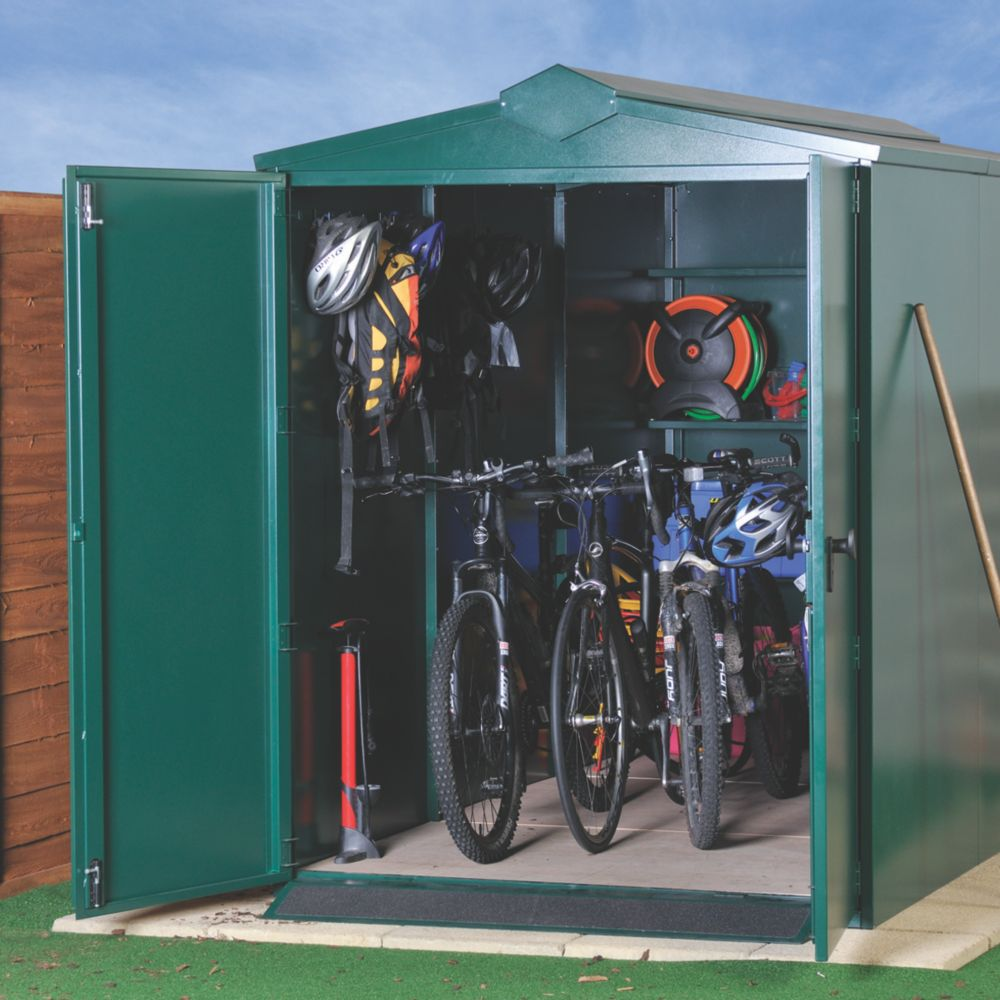 Image of Asgard Centurion Plus All-Metal Bike Store with Assembly Green 1.6 x 3.3m