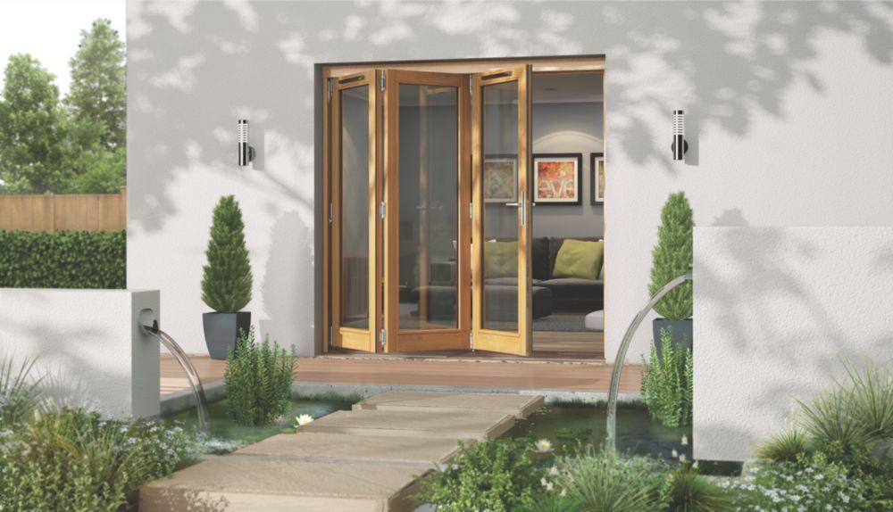 Image of Jeld-Wen Canberra Slide & Fold Patio Door Set Golden Oak 2394 x 2094mm