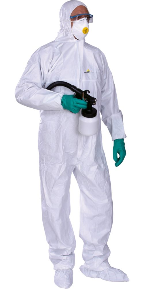"""Image of Delta Plus DT115 Type 5/6 Antistatic Disposable Coverall White X Large 42-45"""" Chest 31"""" L"""