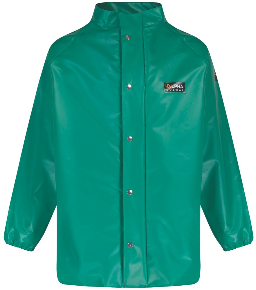"Image of Alpha Solway Chemical-Resistant Jacket Green Medium 50"" Chest"