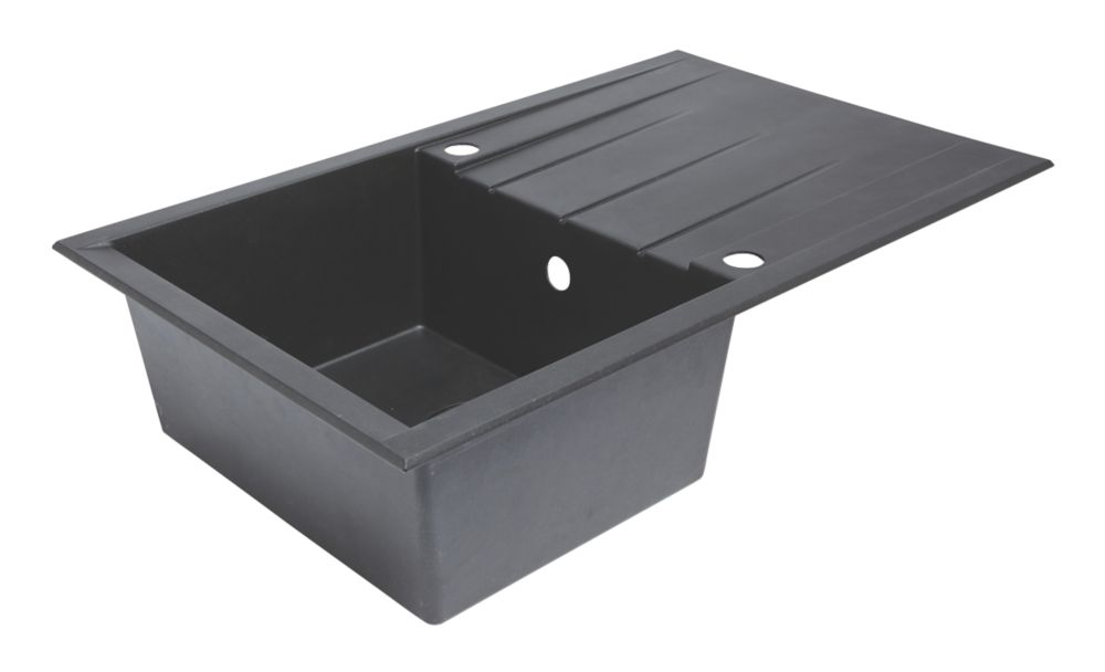 Image of Composite Kitchen Sink & Drainer Black 1-Bowl Reversible 800 x 500mm