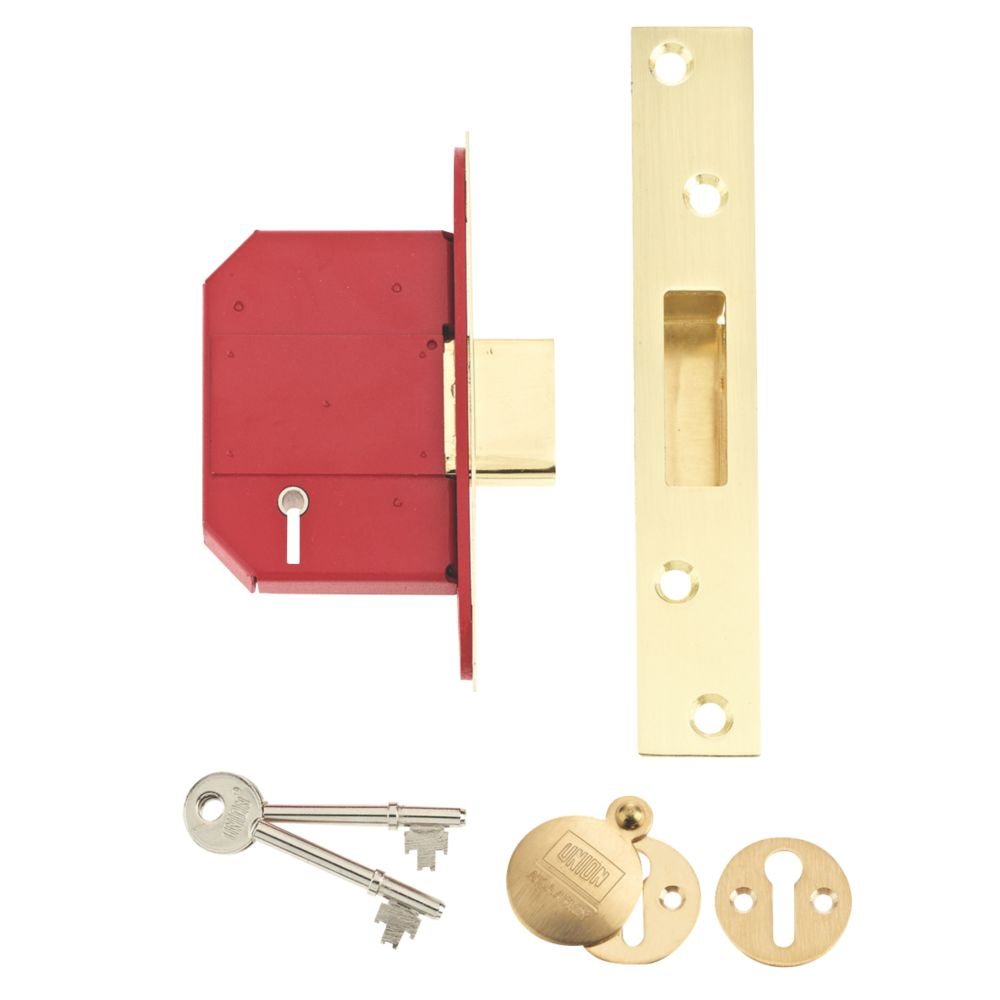 """Image of Union BS 5-Lever Mortice Deadlock Brass 2"""" / 64mm"""