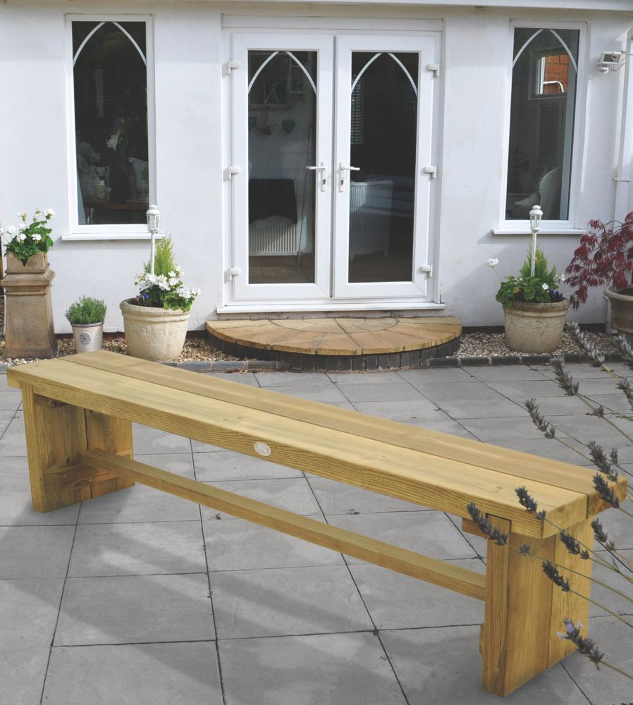 Image of Forest Double Sleeper Garden Bench Softwood 1800 x 350 x 445mm