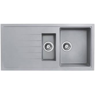 Image of Bristan Quartz Resin Composite Reversible Kitchen Sink & Drainer Grey 1.5 Bowl Left or Right-Handed 1000 x 500mm