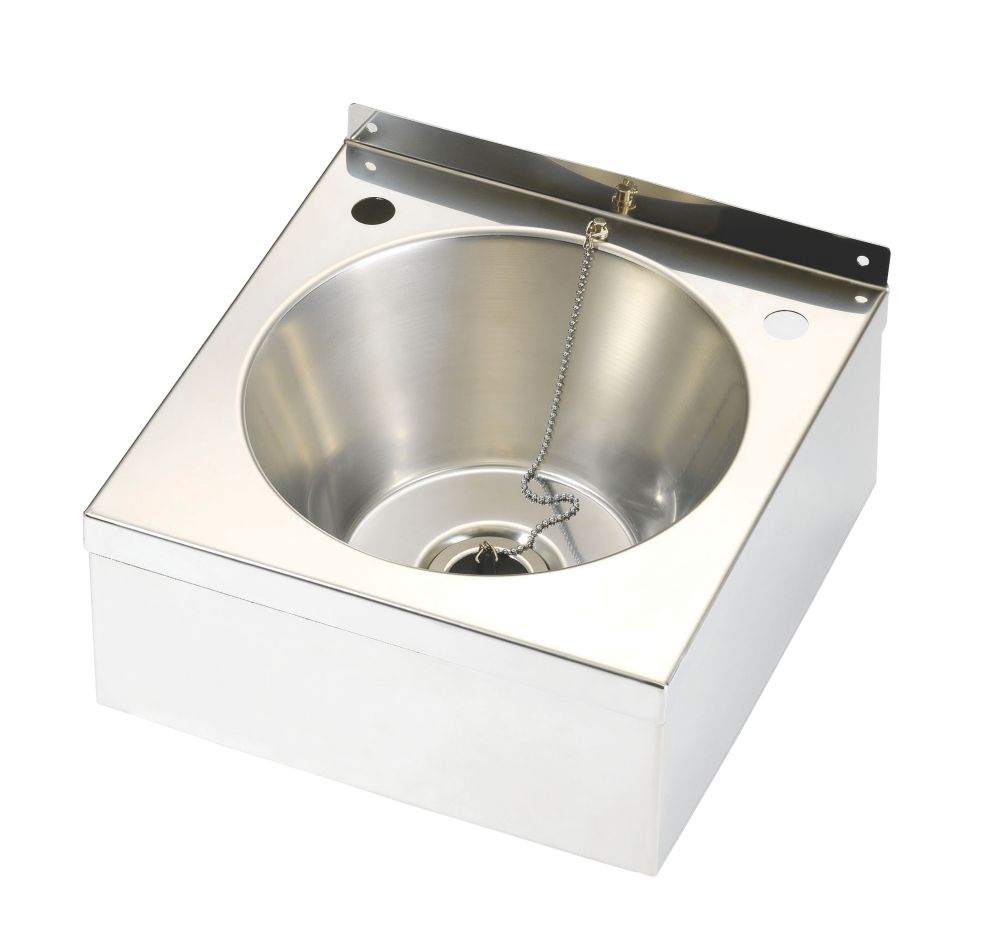 Image of Franke Model A Wall-Hung Wash Basin 2 Tap Hole Stainless Steel -Bowl 290 x 290mm