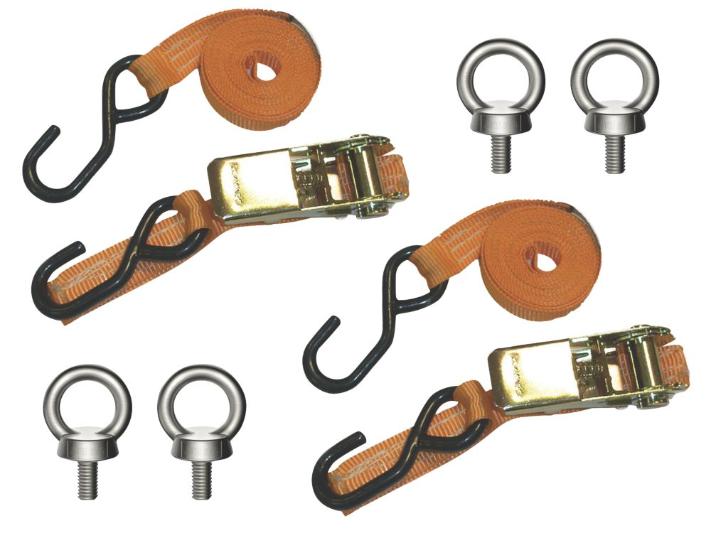 Image of Van Guard Ratchet Tie-Down Straps with Hooks & Eye Bolts 2.5m x 25mm 2 Pack
