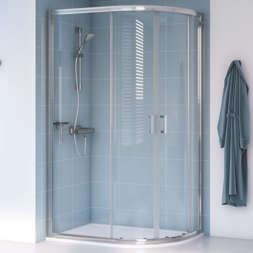 Image of Aqualux Edge 8 Offset Quadrant Shower Enclosure Reversible Left/Right Opening Polished Silver 1000 x 900 x 2000mm