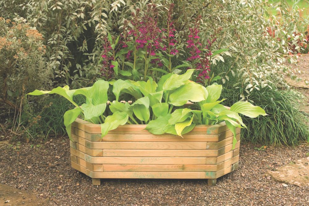 Image of Forest Rectangular Richmond Planter Natural Wood 1000 x 500 x 360mm