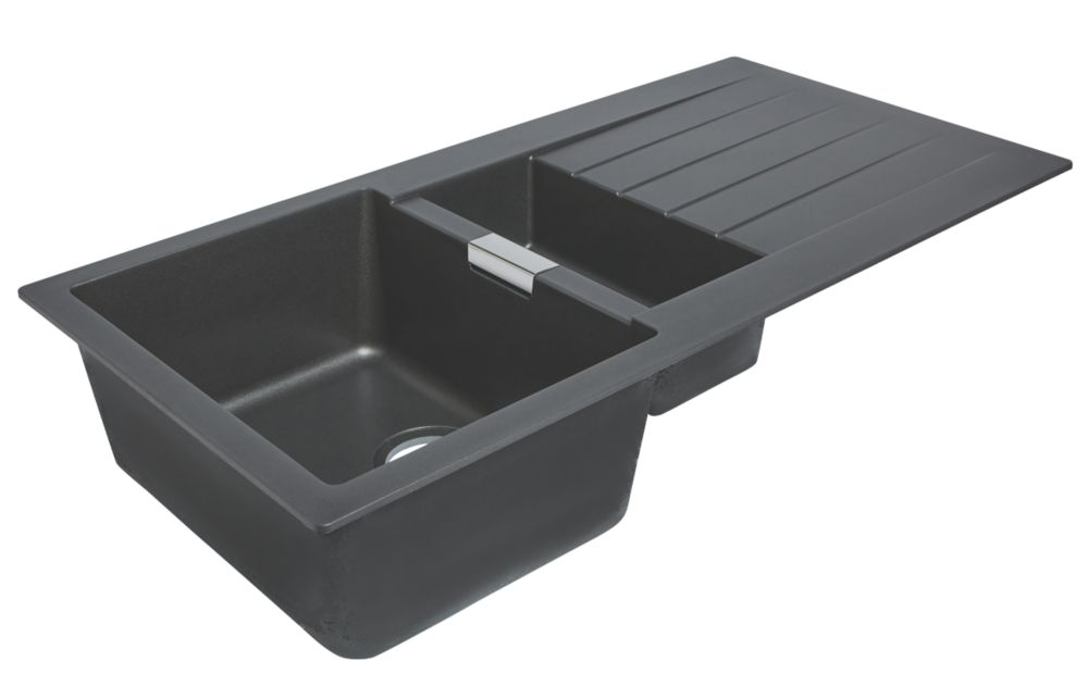 Image of Premium Granite Composite Kitchen Sink Grey 1-Bowl Reversible 1000 x 500mm