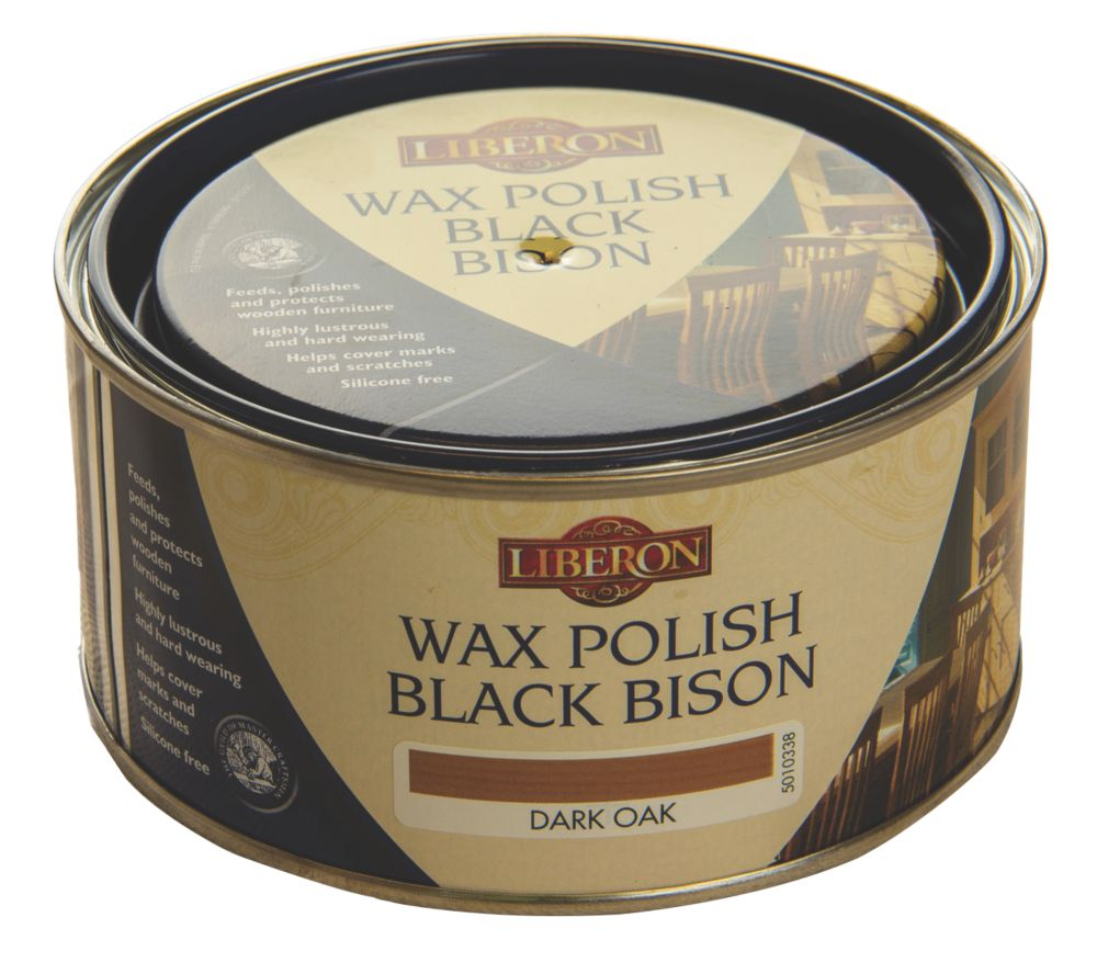 Image of Liberon Black Bison Paste Wax Satin to Gloss Dark Oak 500ml