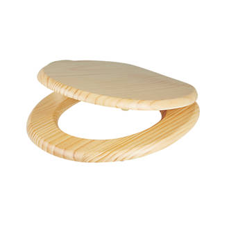Cooke And Lewis Standard Toilet Seat Pine Natural Toilet Seats - 40cm round toilet seat