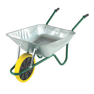 Image of Walsall Easiload Puncture-Proof Wheel Wheelbarrow Galvanised 85Ltr