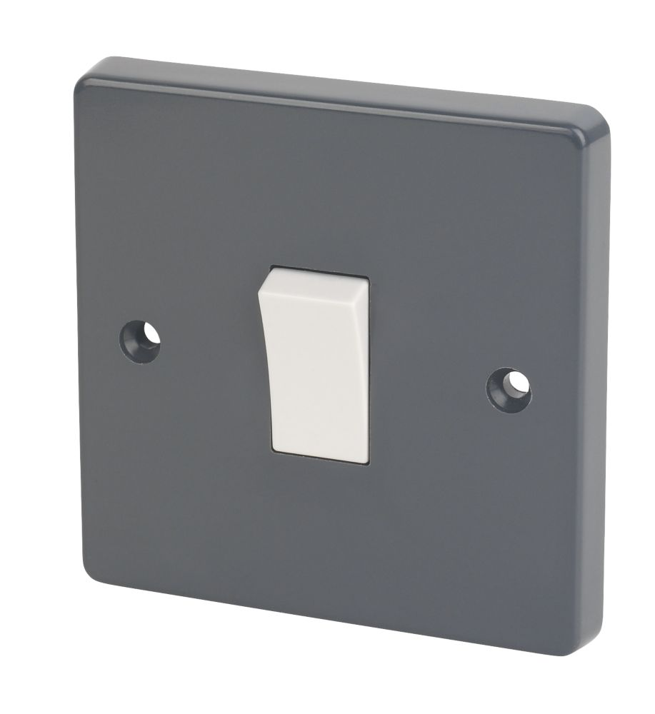 Image of Crabtree 10AX 1-Gang 2-Way SP Rocker Switch Smooth Grey