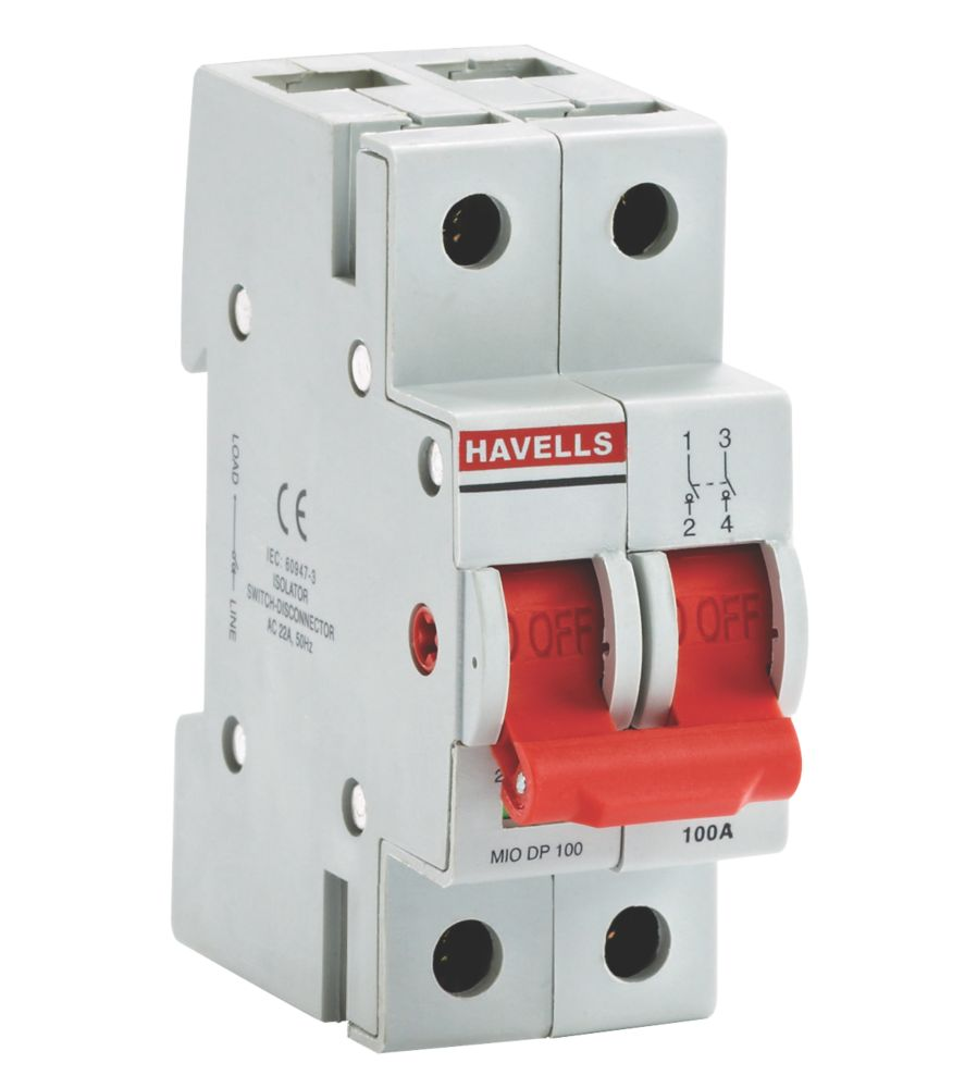 Image of Havells 100A Double Pole Switch Disconnector Incomer for A Boards