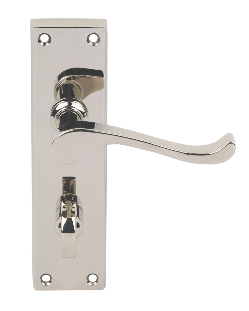Image of Carlisle Brass Victorian Scroll Lever on Backplate WC Door Handles Pair Polished Nickel