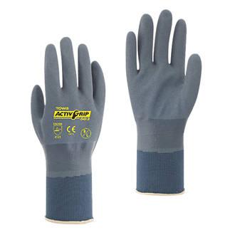 Image of Towa ActivGrip 503 Fully-Coated Nitrile Gloves Grey / Purple Medium