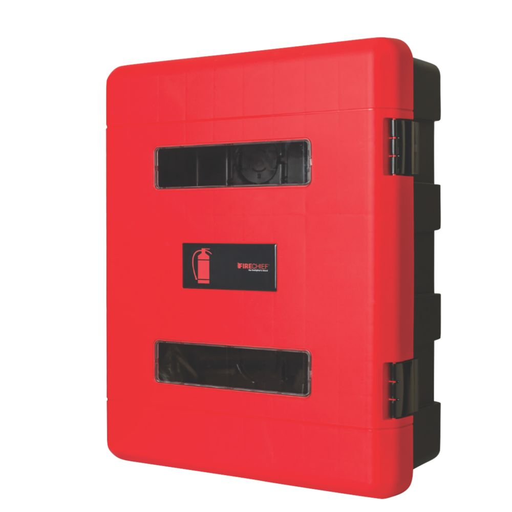 Image of Firechief 106-1157 Double Extinguisher Cabinet with Latch 620 x 290 x 735mm Red / Black