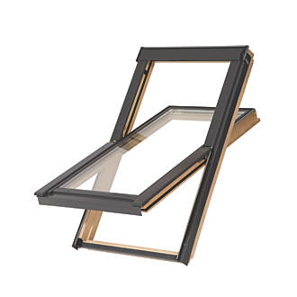 Image of Tyrem C4A Manual Centre-Pivot Lacquered Natural Pine Roof Window Clear 550 x 980mm