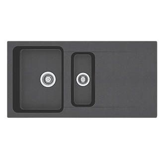 Franke Tectonite Inset Kitchen Sink Black 1.5 Bowl Reversible 1000 ...