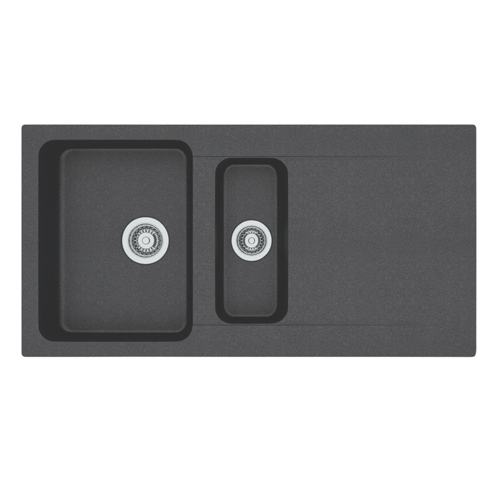 Image of Franke Inset Kitchen Sink Black 1-Bowl Reversible 1000 x 510mm