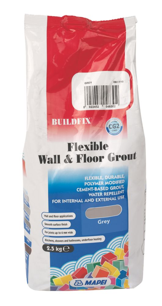 Image of Mapei BuildFix Flexible Wall & Floor Grout Grey 2.5kg