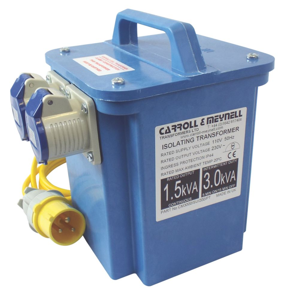 Image of Carroll & Meynell Portable Step-Up Transformer with 2 Output Sockets 3kVA