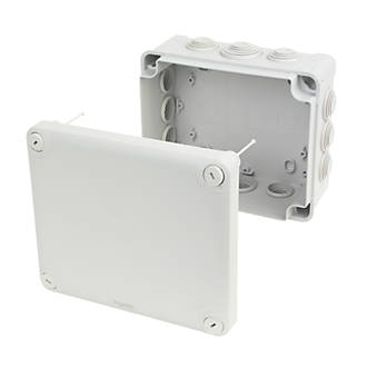 Image of Schneider Electric 12-Entry Junction Box with Knockouts Grey 195 x 165 x 90mm