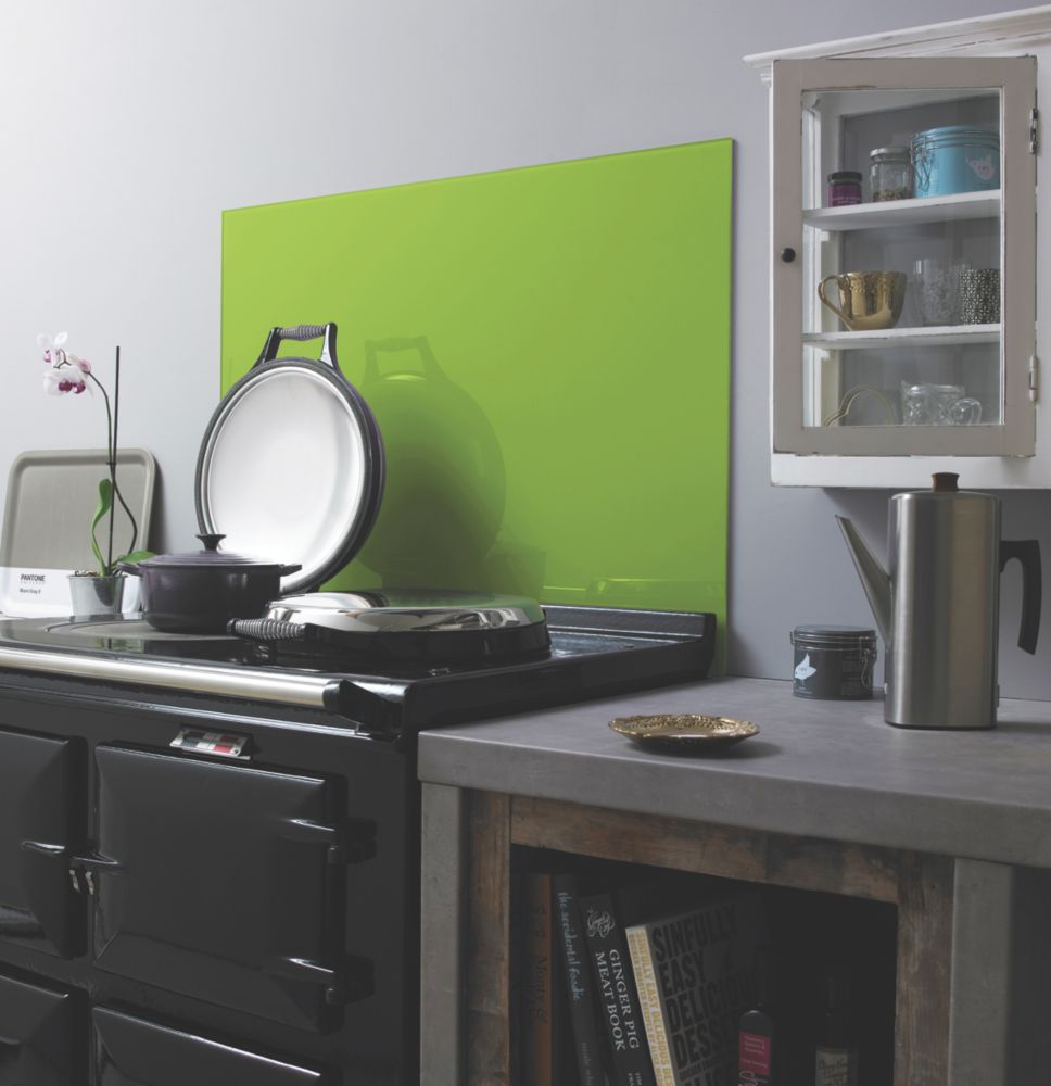 Image of Impact Glass Lime Self-Adhesive Toughened Glass Splashback 900 x 750 x 6mm