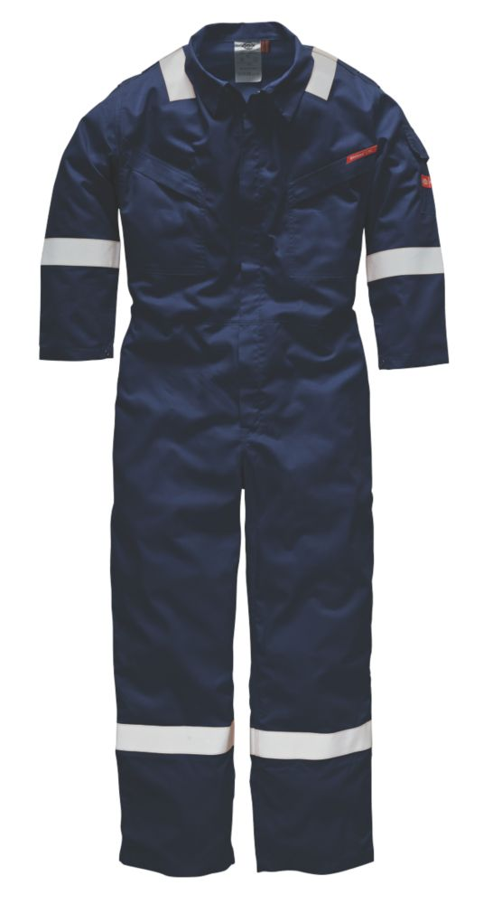 """Image of Dickies FR5401 Flame Retardant Coverall Navy Large 46"""" Chest 31"""" L"""