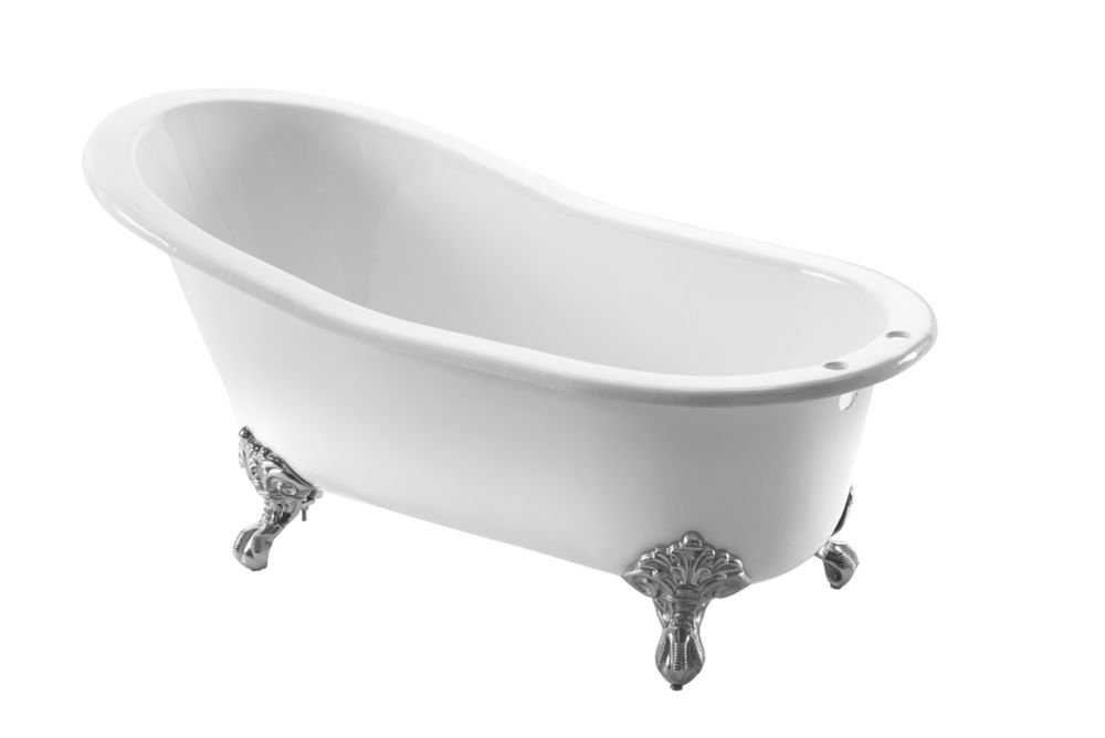Image of Arroll Single-Ended Bath Cast Iron 2 Tap Holes 1550mm